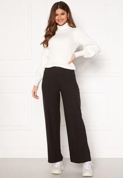Pieces Riola MW Soft Wide Pants Dark Grey Melange Bubbleroom.se