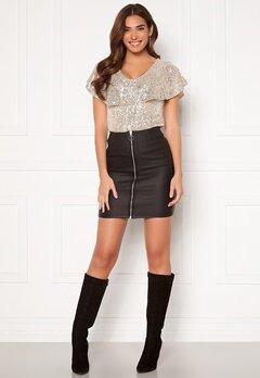 Pieces Roxy HW Zip Coated Skirt Black Bubbleroom.se