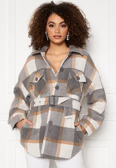Pieces Selma Overshirt Jacket Whitecap Gray Checks Bubbleroom.se