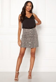 Pieces Sky HW Button Skirt Peyote/Leopard Bubbleroom.se