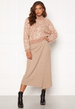 Pieces Suna HW Knit Skirt Natural Bubbleroom.se