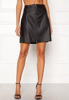 Pieces Tecia Faux Leather Skirt Black Bubbleroom.se