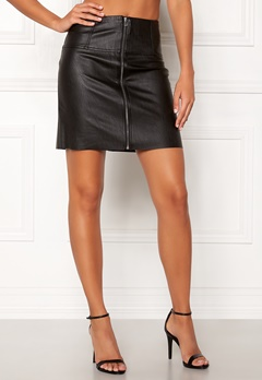 Pieces Tecia Faux Leather Skirt Black Bubbleroom.se