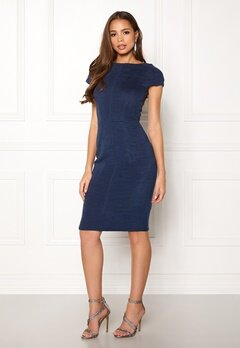 Closet London Pleated Cap Sleeve Dress Navy Bubbleroom.se