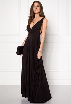Goddiva Pleated Oscar Dress Black Bubbleroom.no