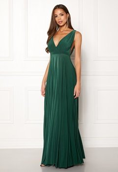 Goddiva Pleated Oscar Maxi Dress Green Bubbleroom.se