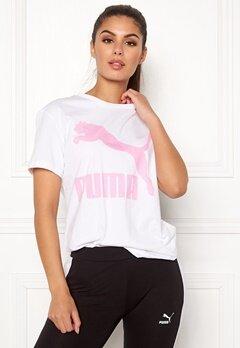 PUMA Classics Logo Tee 002 Wht/Pink Bubbleroom.se