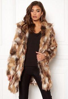 QED London Animal Faux Fur Coat Brown Bubbleroom.se
