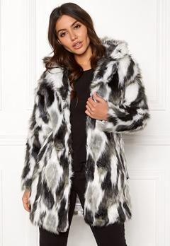 QED London Animal Faux Fur Coat Grey Bubbleroom.se