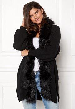 QED London Faux Fur Long Cardigan Black Bubbleroom.se