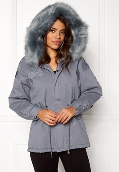 QED London Relaxed Parka Fur Hood Grey Bubbleroom.se