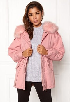 QED London Relaxed Parka Fur Hood Pink Bubbleroom.no