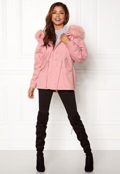 QED London Relaxed Parka Fur Hood Pink Bubbleroom.se