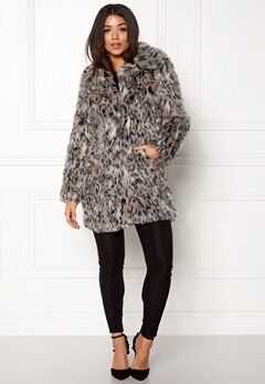 QED London Wild Cat Faux Fur Coat Wild Cat Bubbleroom.se