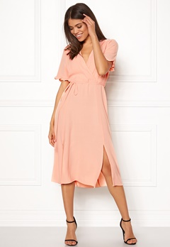 New Look Ram Tie Wrap Maxi Dress Shell Pink Bubbleroom.se
