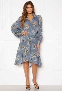 Ravn Cosima Wrap Dress Blue Flower Bubbleroom.se