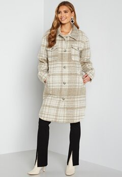 Rut & Circle Becky Check Coat 177 Light Beige/Whit Bubbleroom.se