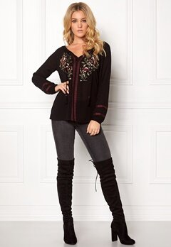 Rut & Circle Brielle Emb Blouse Black Bubbleroom.se