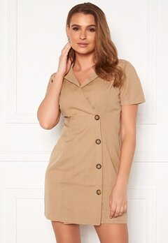 Rut & Circle Chloe Button Dress Beige Bubbleroom.se