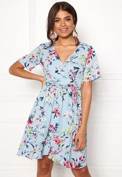 Rut & Circle Eleonor Wrap Dress Lt Blue Combo Bubbleroom.se
