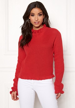 Rut & Circle Emelie Frill Knit Red Bubbleroom.se