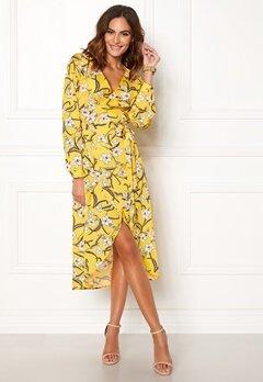 Rut & Circle Flower LS Wrap Dress Yellow Bubbleroom.se