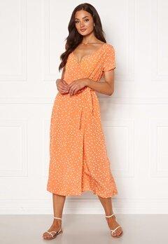 Rut & Circle Ida Wrap Dress Light Orange Dot Bubbleroom.se