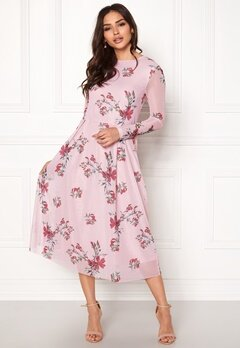 Rut & Circle Long Sleeve Mesh Dress Pink Bubbleroom.se