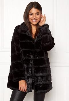 Rut & Circle Panel Faux Fur Jacket Black Bubbleroom.se