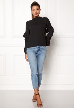 Rut & Circle Sonya Frill Sleeve Blouse Black Bubbleroom.se