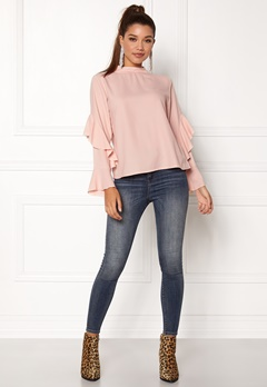 Rut & Circle Sonya Frill Sleeve Blouse Dusty Pink Bubbleroom.se