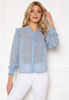 Rut & Circle Vivian Blouse Mid Blue/White Leo Bubbleroom.se