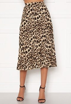Sandra Willer X Bubbleroom Pleated midi skirt Leopard Bubbleroom.se