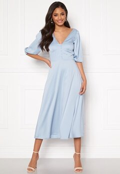 Sandra Willer X Bubbleroom Puff sleeve dress Light blue Bubbleroom.se