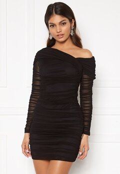 Sara Sieppi x Bubbleroom Ruched Assymetric Dress Black Bubbleroom.se