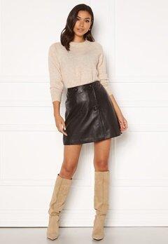 SELECTED FEMME Alberte MW Leather Skirt Black Bubbleroom.se