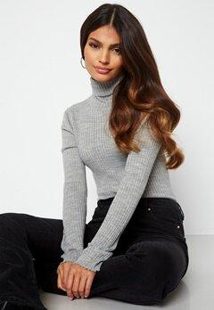 SELECTED FEMME Costina LS knit rib rollneck Light Grey Melange Bubbleroom.se
