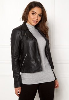 SELECTED FEMME Marlen Leather Jacket Black Bubbleroom.se