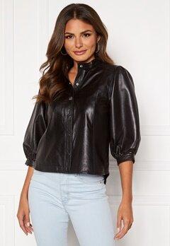 SELECTED FEMME Milla Leather Shirt Black Bubbleroom.se