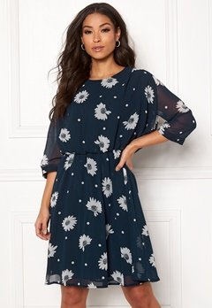 SELECTED FEMME Oriana 3/4 Short Dress Dark Sapphire Bubbleroom.se