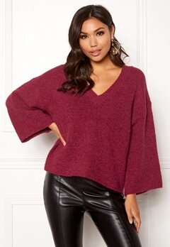 SELECTED FEMME Peri 7/8 Knit V-neck Beet Red Bubbleroom.se