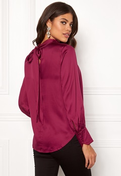 SELECTED FEMME Quinn LS Neck Tie Top Beet Red Bubbleroom.se