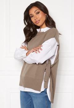 SELECTED FEMME Tinka Tie Knit Vest Fossil Bubbleroom.se