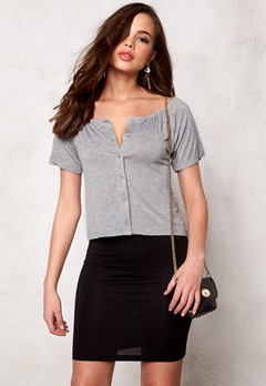 VILA Semra s/s top Light Gray Melange Bubbleroom.no