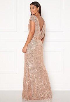 Goddiva Sequin Cowl Back Dress Champangne Bubbleroom.se