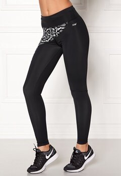 Shape Me Up Elle Snake Tights Black Solid Bubbleroom.se