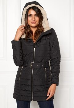 ONLY Shelly Hooded Coat Black Bubbleroom.se