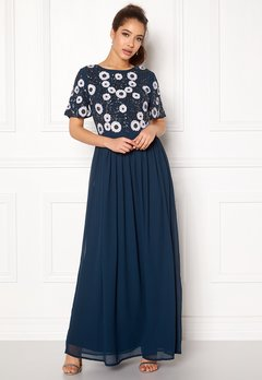 AngelEye Short Sleeve Sequin Dress Navy Bubbleroom.se