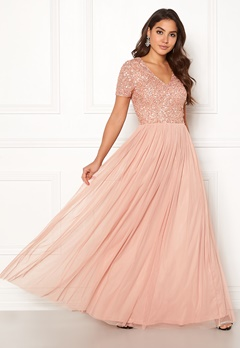 AngelEye Short Sleeve Sequin Dress Cameo Rose Bubbleroom.se