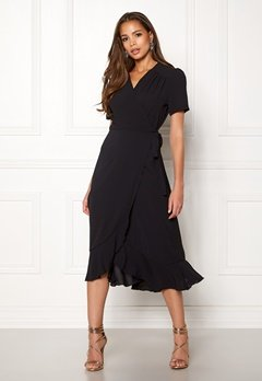 John Zack Short Sleeve Wrap Dress Black Bubbleroom.se